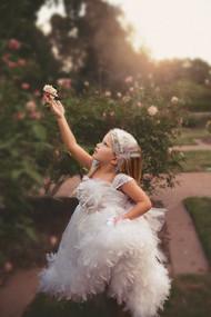 Girls Couture Chiffon Feather Dress | Chiffon Flower Girl Dress