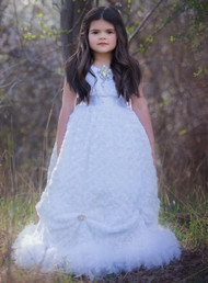 Stunning Girls Couture White Ball Gown | Girls Formal Party Gown