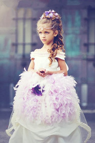 Wedding Couture Flower Girl Gown With Bustle Train And Feathers