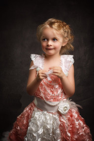 Girls Couture Princess Rosette Gown | Feather Flower Girl Dress