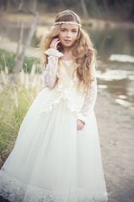 First Communion Couture Gown | Couture Flower Girl Silk Lace Gown