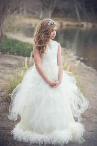 Stunning Couture Feather Tulle Gown | Couture Tulle Flower Girl Dress