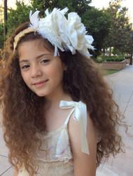 Girls Couture Feather Headband | Wedding Flower Girl Headband
