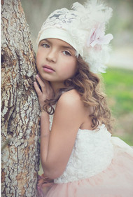 Little Girls Couture Lace Beanie | Kids Couture Feather Lace Beanie