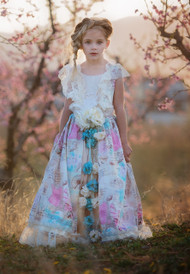 Girls Floral Couture Princess Wedding Flower Girl Party Dress