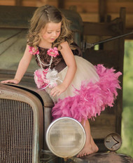 Kids Satin Tulle Couture Dress | Girls Couture Feather Tulle Dress