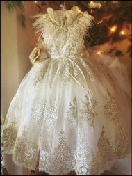 Wedding Couture Flower Girl Lace Gown | Couture Flower Girl Party Dress
