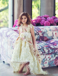 Gorgeous Couture Hi Lo Girls Floral Print Dress | Girls Floral Lace Dress