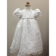 Bebe Gabrielle Crystal Beaded Lace Christening Short Dress