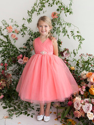 Girls Glitter Tulle Party Dress | Flower Girl Teal Length Tulle Dress