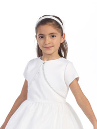 White Satin Bolero For Communion | Flower Girl Short Satin Bolero