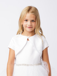 White Short Bolero For Girls | Flower Girl Satin Bolero