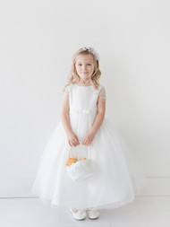 Girls Beautiful Satin Tulle Communion Dress | Flower Girl Dress