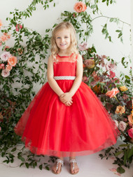 Tea Length Flower Girl Dress | Girls Special Occasion Tulle Dress