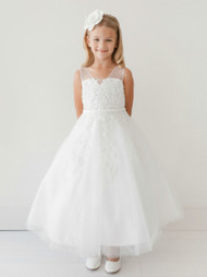 Satin Organza Communion Dress For Girls | Ivory 1st Communion Dress
