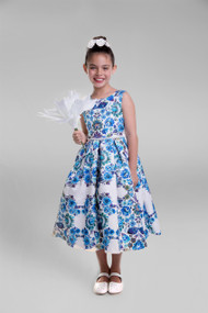 Girls Floral Special Occasion Dress | Girls Party Printed Jacquard Dress