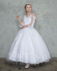 White Communion Pageant Dress For Girl | Girls Beaded Pageant Gown