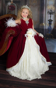 Luxurious Velvet Couture Ball Gown For Girls | Red Ball Gown For Girls