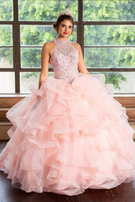 Beautiful Sheer Beaded Chiffon Dress For Quince