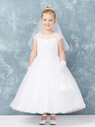 Girls White Communion Dress With Sheer Cap Sleeves