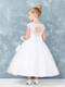 Girls White Communion Dress With Sheer Cap Sleeves