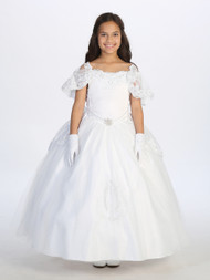 first communion dress with off the shoulder neckline
