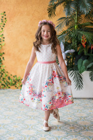 Beautiful Girls Floral Print Dress For Summer