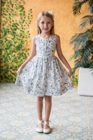 Girls Floral Print Easter Kids Dress In Cotton
