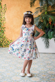 Charming Floral Print Kids Summer Dress For Easter