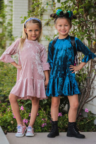 Crushed Velvet Special Occasion Dress For Girls