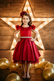 Girls Red Satin Tulle Party Dress With Cap Sleeves