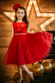Red Velvet Tulle Special Occasion Dress For Girls