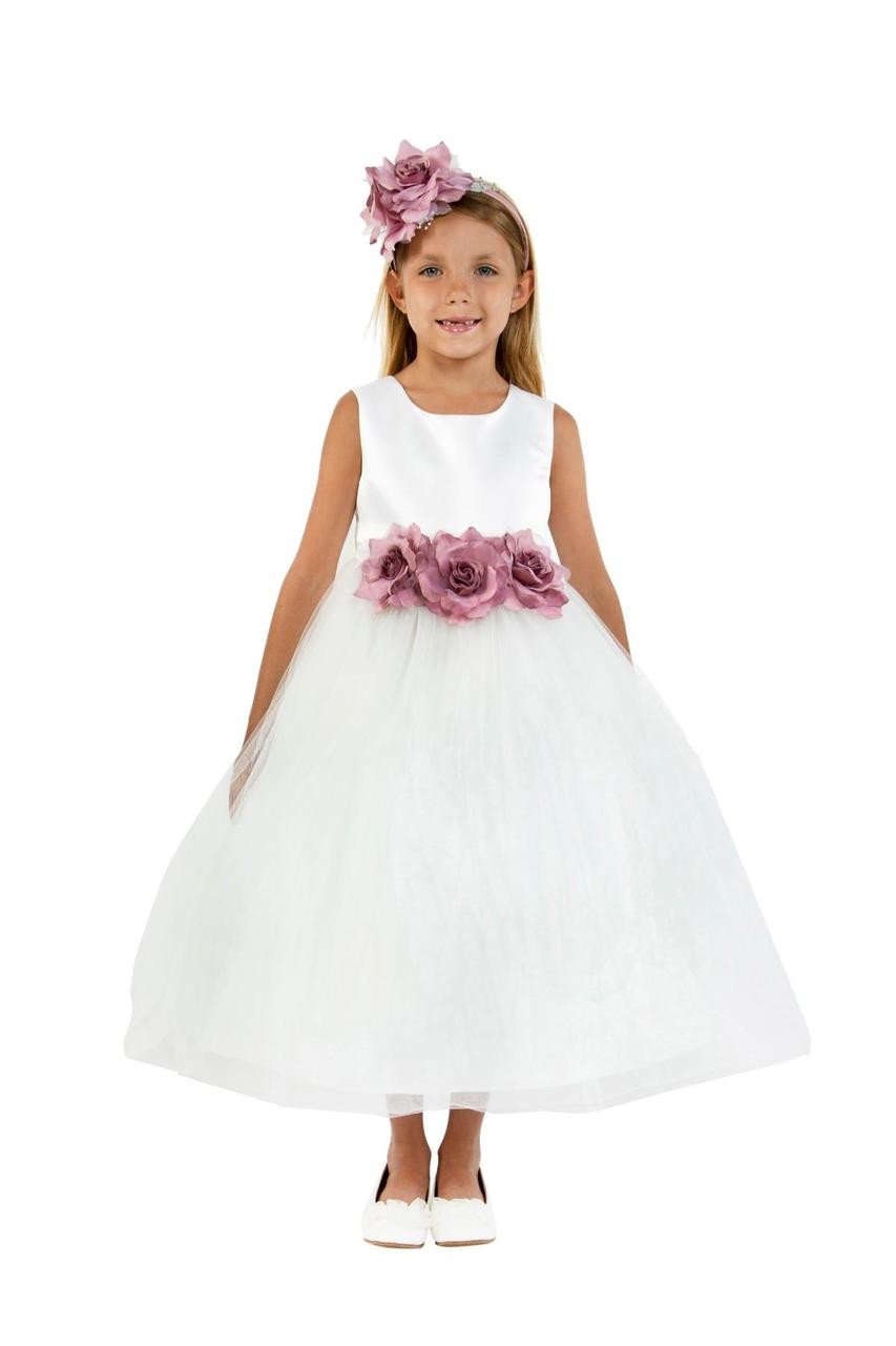 adf06426ce9cb Satin Tulle Flower Girl Dress And Party Dress For Girls
