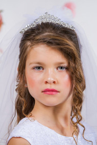 White Communion Veil With Tiara