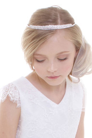 Girls Delicate White First Communion Veil With Tiara