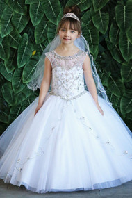 Stunning White Beaded Communion Dress For Girls