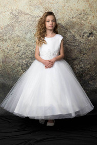 Petite Adele Ivory 1st Communion Dress With Floral Embroidery