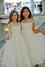 Petite Adele Couture White Lace Communion Dress
