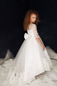 White Lace Communion Dress By Petite Adele Couture