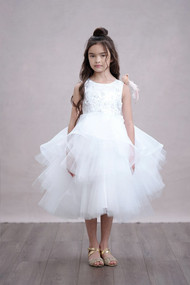 Petite Adele Girls White 1st Communion Multi Tiered Tulle Dress