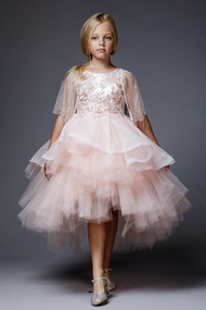 Gorgeous Hi Lo Tulle Flower Girl Dress By Petite Adele Couture Blush Color