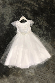 Petite Adele Couture White First Communion Dress With Cap Sleeves