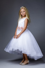 Petite Adele Couture Satin Tulle Flower Girl Communion Dress