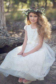 First Communion Lace Organza Dress By Petite Adele