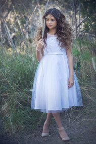Satin Tulle First Communion Dress With Illusion Neckline