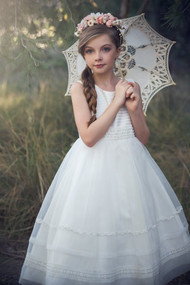 Petite Adele Couture Ivory 1st Communion Tea Length Dress