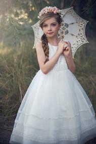 Petite Adele Couture Ivory 1st Communion Tea Length Dress