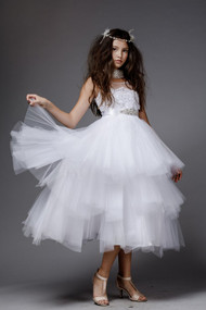 Petite Adele Couture 1st Communion White Flower Girl Tulle Dress