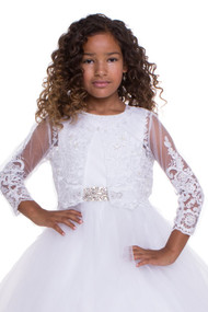 Long Sleeve Lace Bolero Jacket For Communion Flower Girl Dress