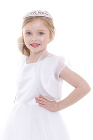 Girls 1st Communion Couture White Satin Organza Bolero Jacket